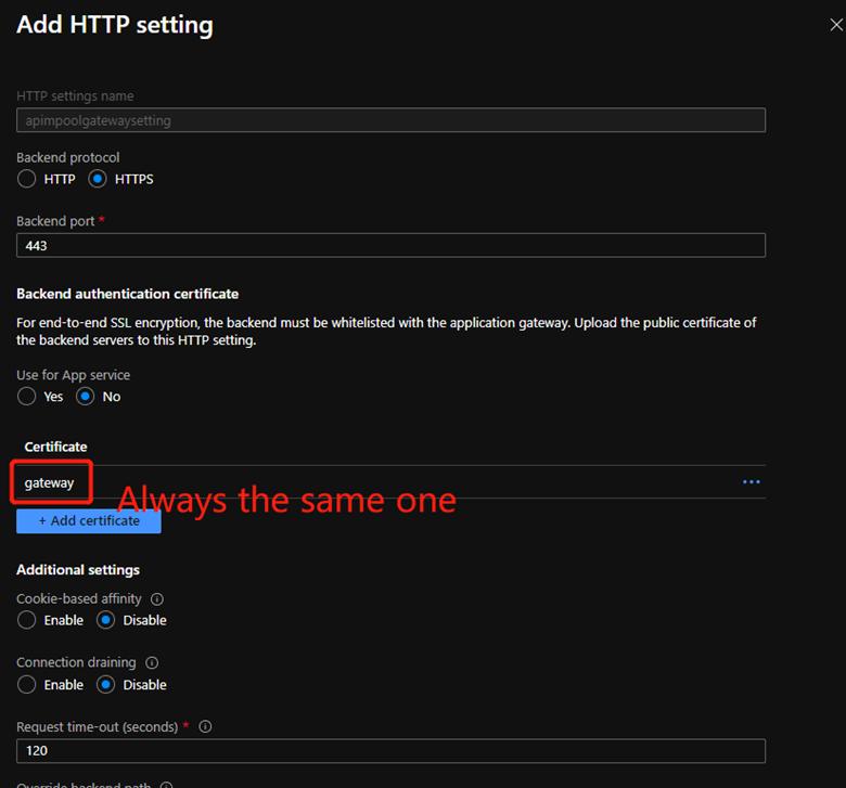 Application Gateway Http Settings page