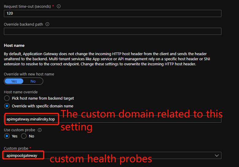 Application Gateway Http Setting page 2