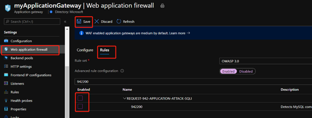 Application Gateway WAF rule page