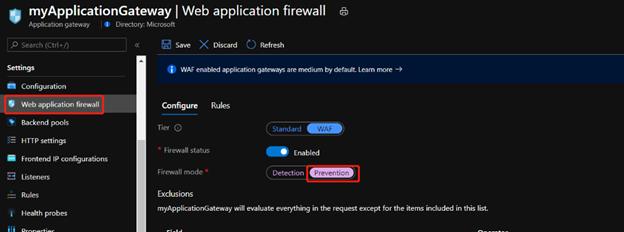 Application Gateway WAF page