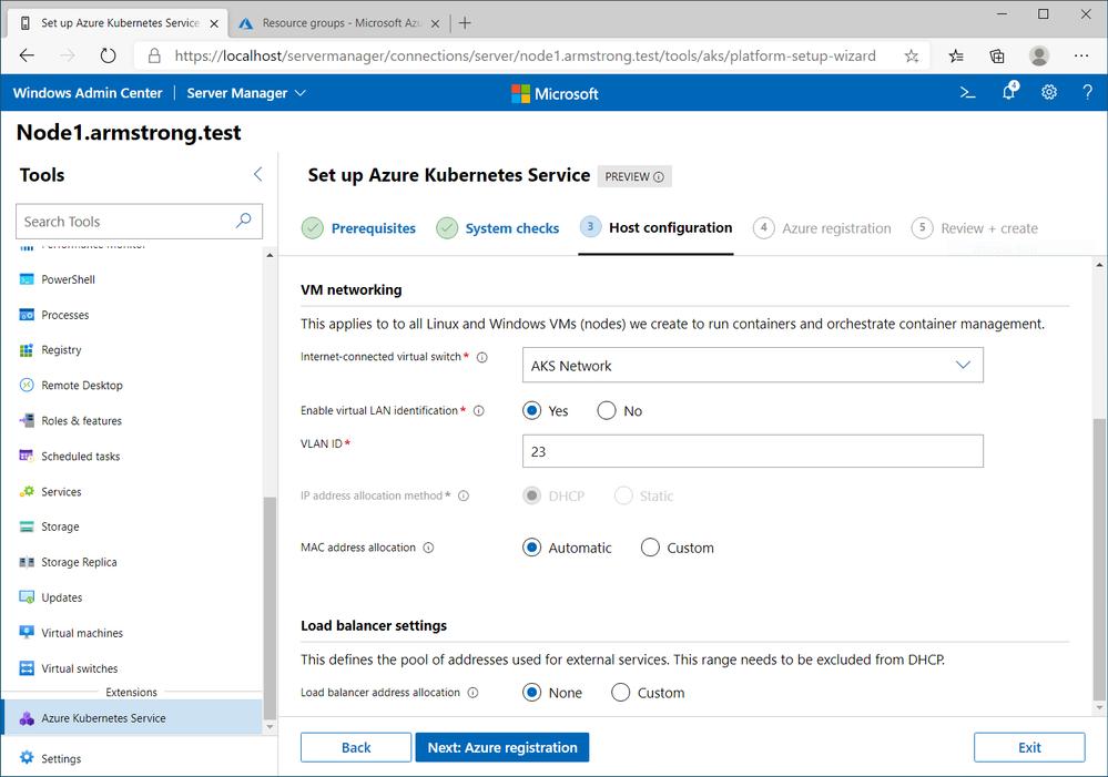 Screenshot of configuring a VLAN on a new AKS on AzureStack HCI deployment