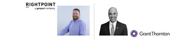 Left-to-right: Jesse Murray (SVP of Employee Experience & Managing Director   Rightpoint) and Doug Kalish (Head of Knowledge Management   Grant Thornton).  [The Intrazone guests]