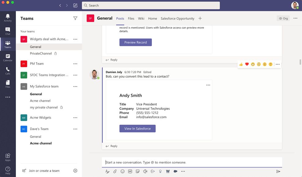 Microsoft Partners with Salesforce to Deliver Microsoft Teams Integration for Sales and Service