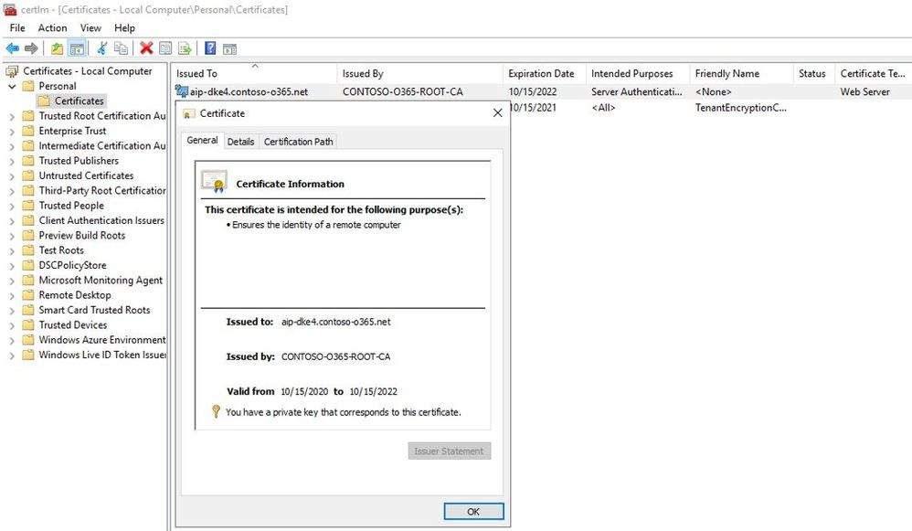 Certificate used for IIS
