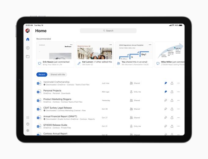 Microsoft Word start screen on the new iPad Air.