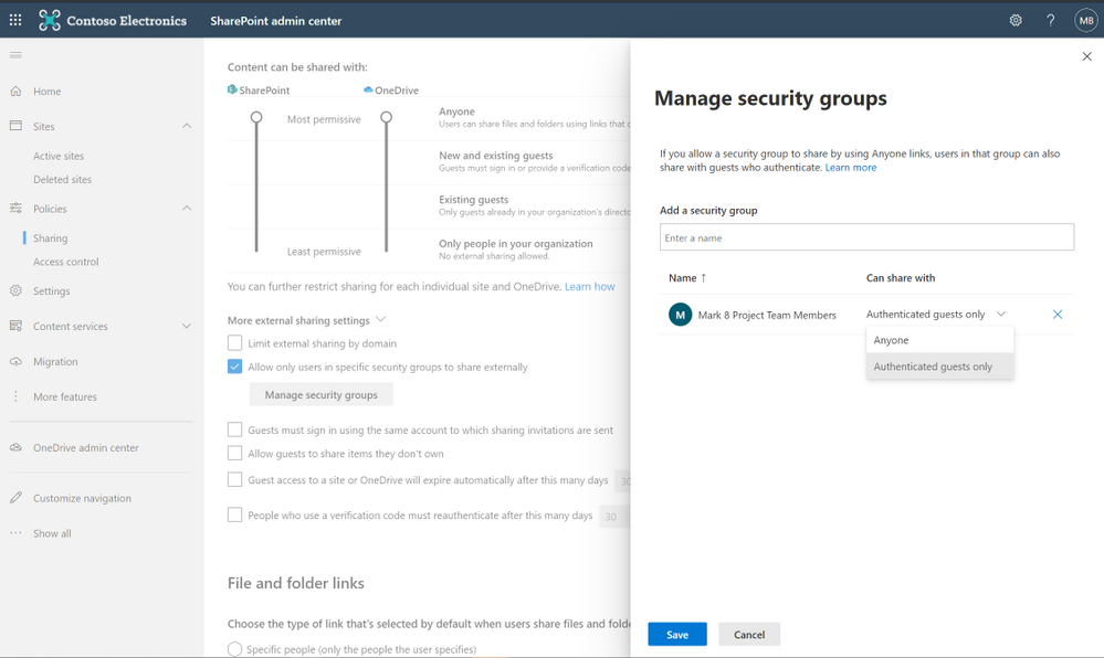Create security groups to segment users and allow external sharing .