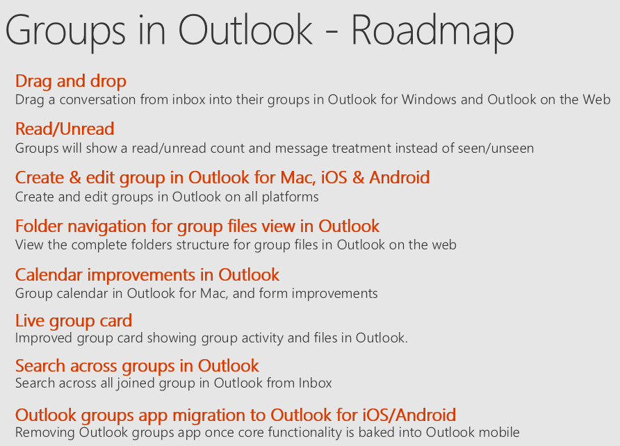 Groups in Outlook roadmap