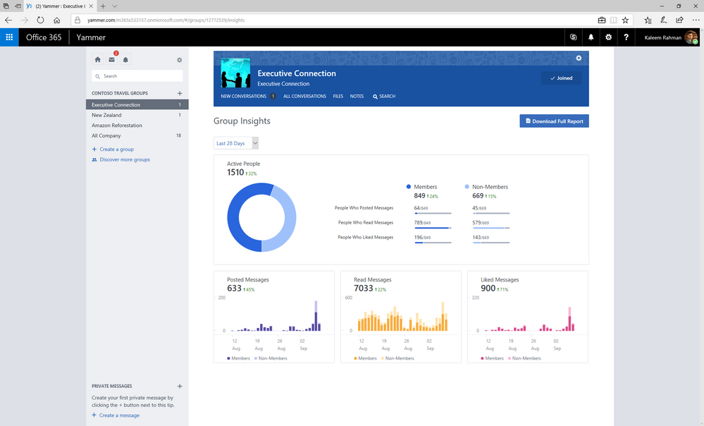 View group insights right within Yammer