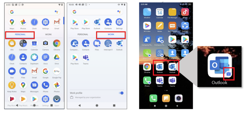 Apps in Android Work Profile with a briefcase icon