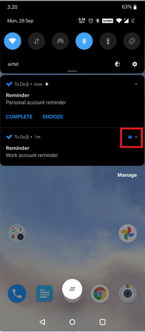 To Do reminders in Android Work Profile