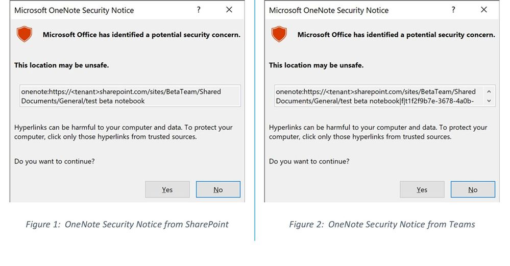 Teams and OneNote failure - Security Notice.jpg