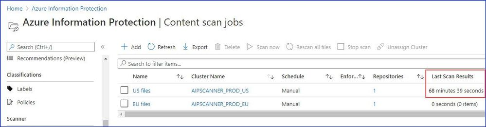 Figure 5: Sample scan duration on the content job page.