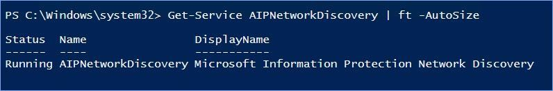 Figure 12: Verifying that the AIP Network Discovery service has been installed and is running.