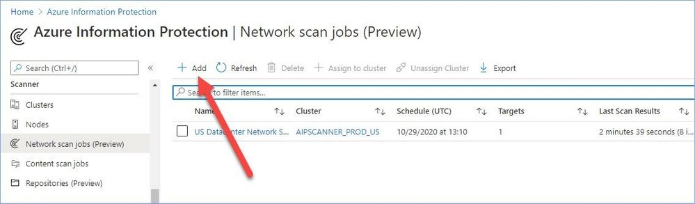 Figure 14: Adding a new network scan job.