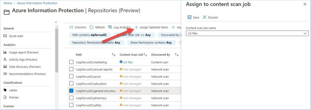 Figure 20: Assigning a discovered file share to a content scan job.