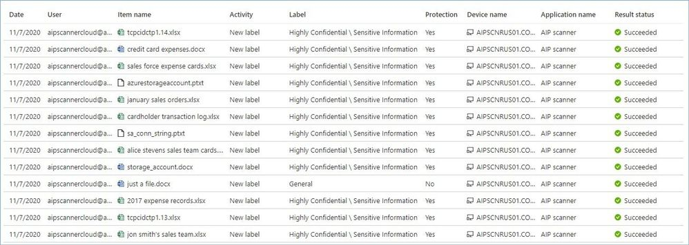 Figure 33: Activity logs being shown in AIP Log Analytics