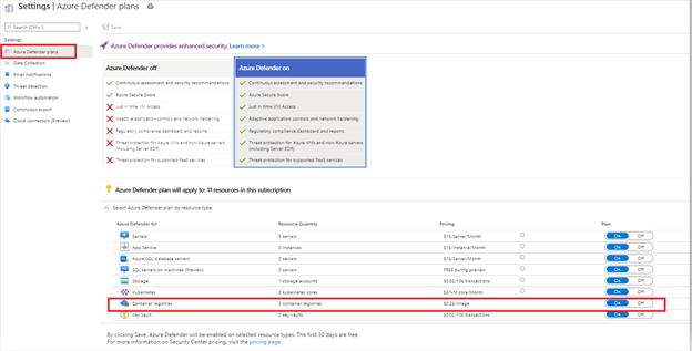 Image 1: Enable Container Registries under Azure Defender plan