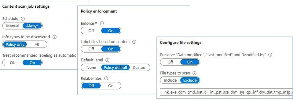 Figure 23: Configuring content scan job settings.