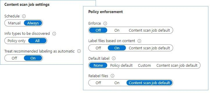 Figure 24: Set of options that tells the scanner to inspect files for all SITs available in the tenant, report results, but don't apply any label.