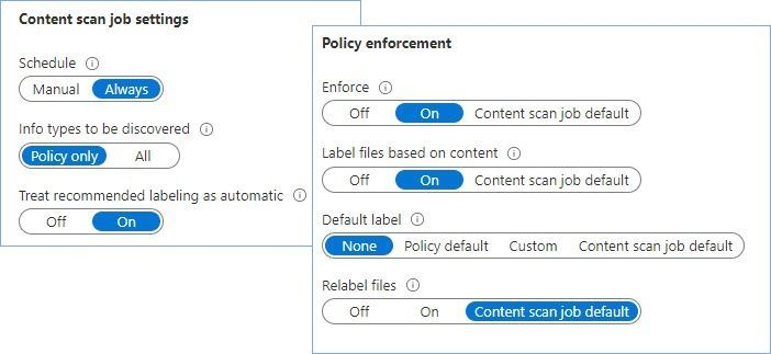 Figure 25: Set of options that tells the scanner to inspect files for SITs configured in the labels published to the scanner account and apply the corresponding label.