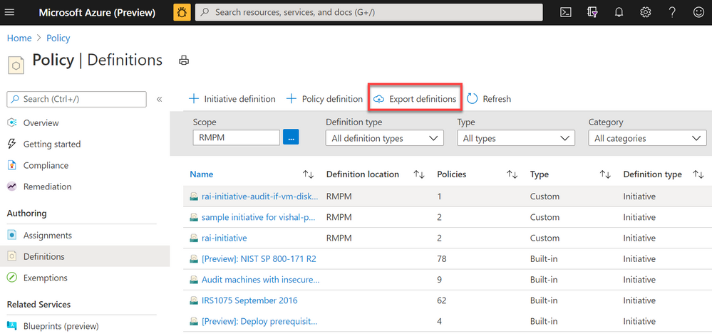 Screenshot of Azure Policy definition view blade from the Azure Portal with a red box highlighting the Export definitions button