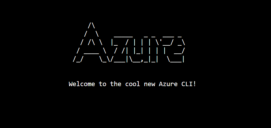 Screenshot of Azure CLI welcome message