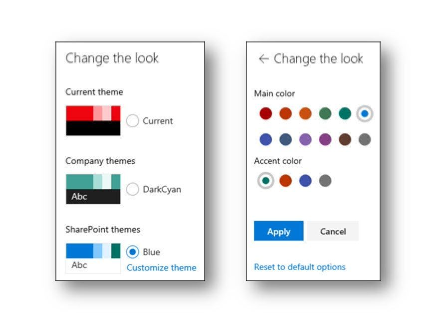 You can configure the default SharePoint themes, adjusting the Main and Accent colors.