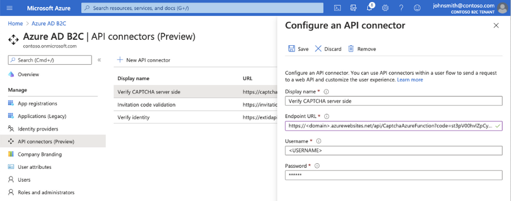 Azure Portal experience adding an API connector to a user flow in Azure AD B2C