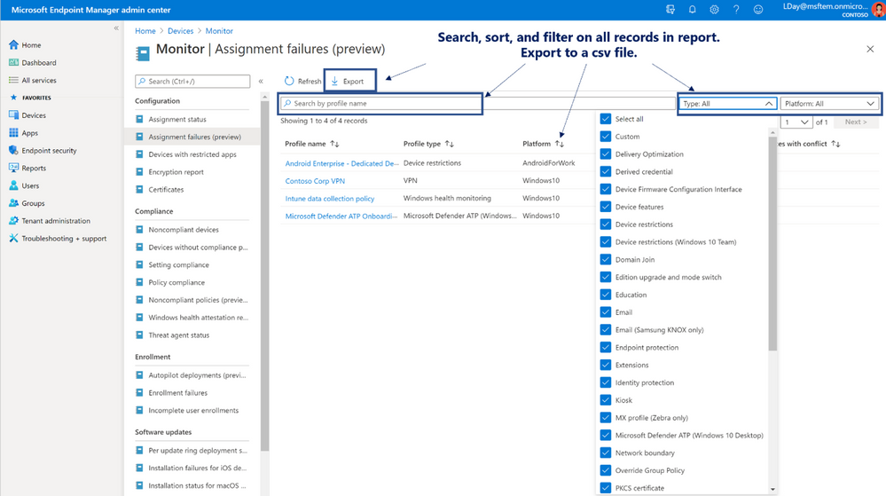 Figure 3. Monitor | Assignment failures (preview) overview