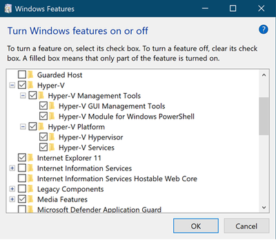 Turn Windows features on