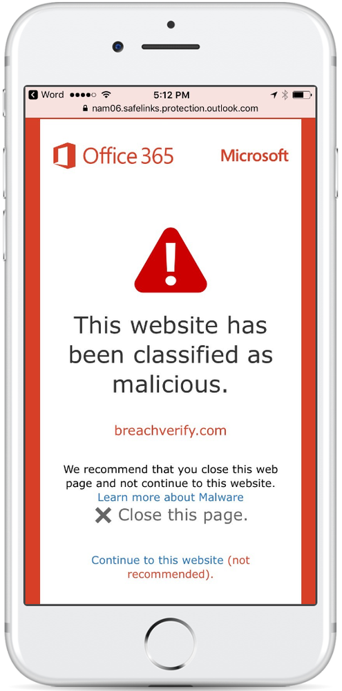Figure 1.  Safe Links warning page on iOS when user clicks on a malicious URL.