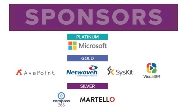 Platinum, gold, and silver sponsors of the Microsoft 365 Collaboration Conference.