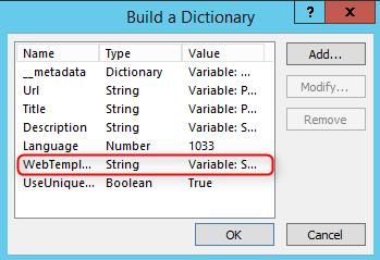 Parameters dictionary