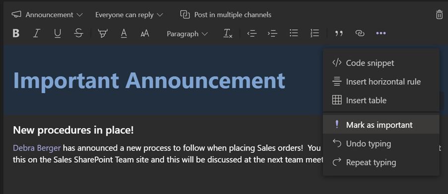 Figure 18 – preparing your announcement