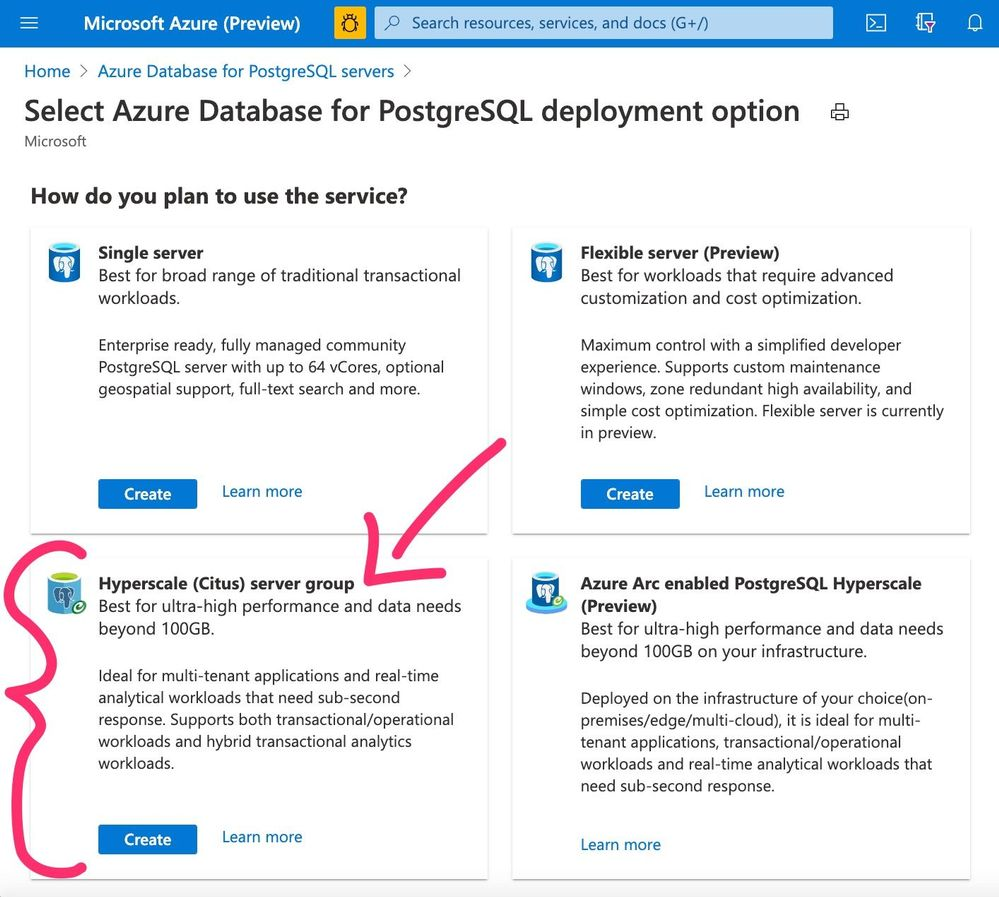 Figure 1: Screenshot of the Azure Portal's provisioning page for Azure Database for PostgreSQL, showcasing the deployment options, including Hyperscale (Citus).