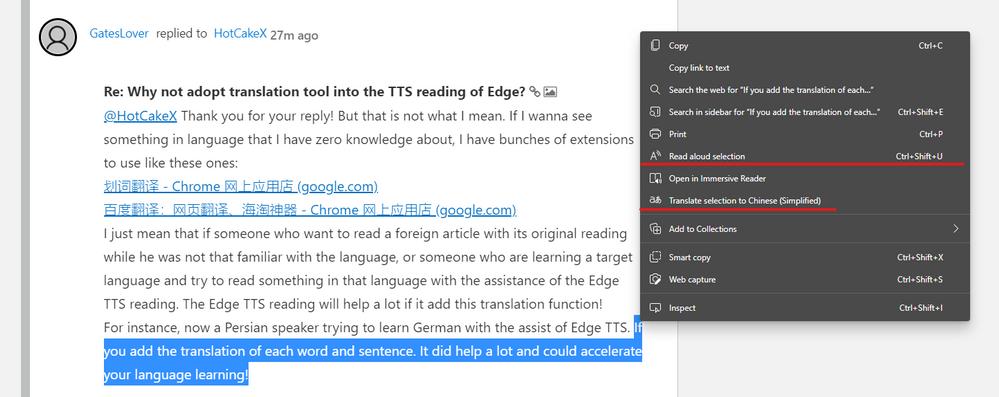 in-line text translation + read aloud