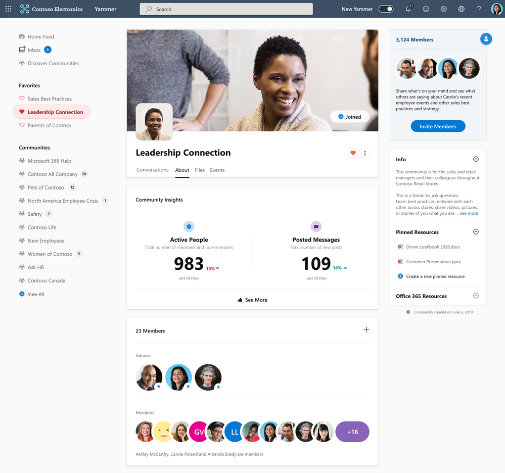 About page with entry to Community Insights