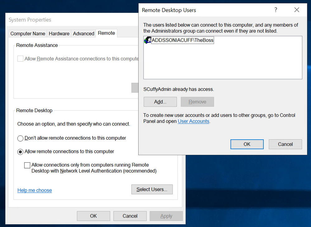 The Remote Desktop Users control on Windows Server 2019