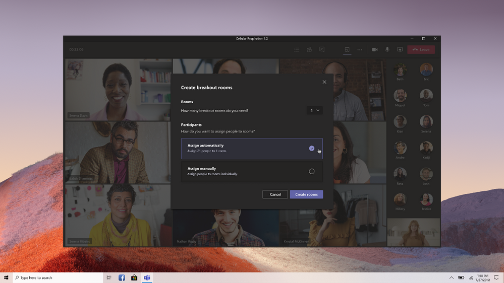 thumbnail image 1 of blog post titled Breakout rooms generally available today in Microsoft Teams