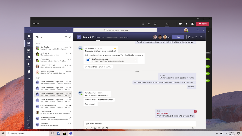 thumbnail image 7 of blog post titled Breakout rooms generally available today in Microsoft Teams