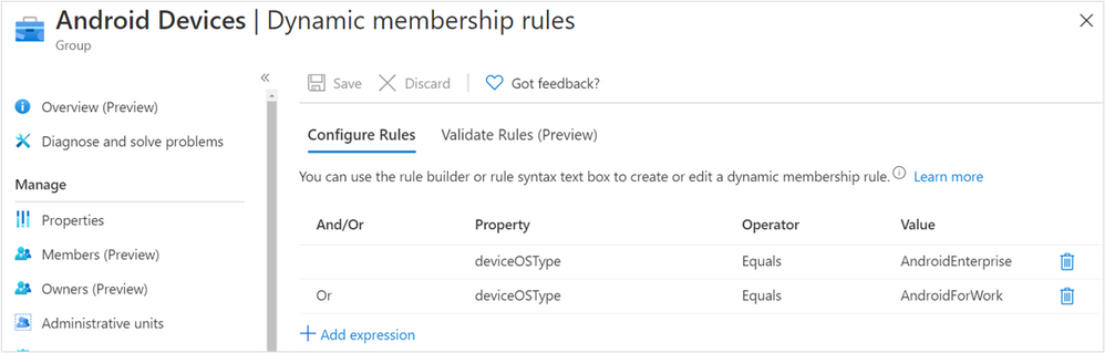 Android Dynamic membership rules