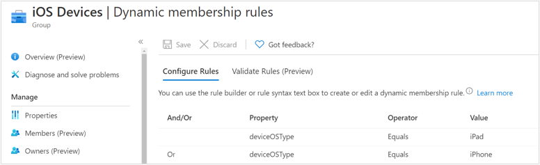 iOS Dynamic membership rules