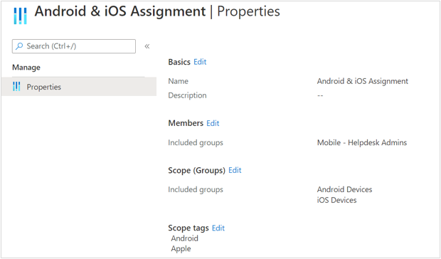 Mobile Helpdesk assignment properties