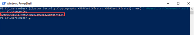 PowerShell terminal displaying the thumbprint of certs stored in a file
