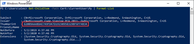 PowerShell terminal displaying the thumbprint of certs stored in a Personal certificate store