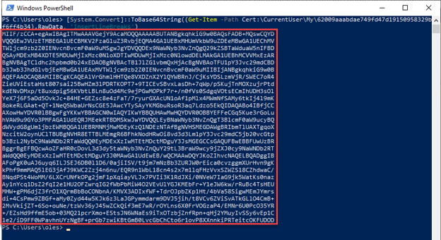 PowerShell terminal displaying the thumbprint of Base-64 certs stored in a Personal certificate store