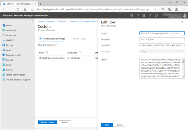 Intune - OMA-URI policy settings