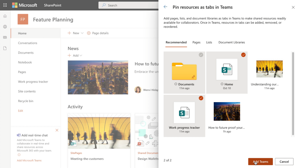 When adding Microsoft Teams to your SharePoint team site, you can select resources (pages, lists and document libraries) to be added as tabs in the general channel of the newly created Teams team.