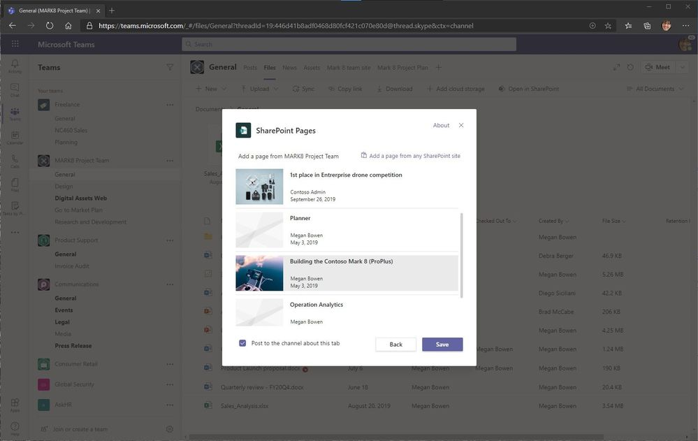 Choose pages from the connected SharePoint team site or add a page from any SharePoint site (via URL).