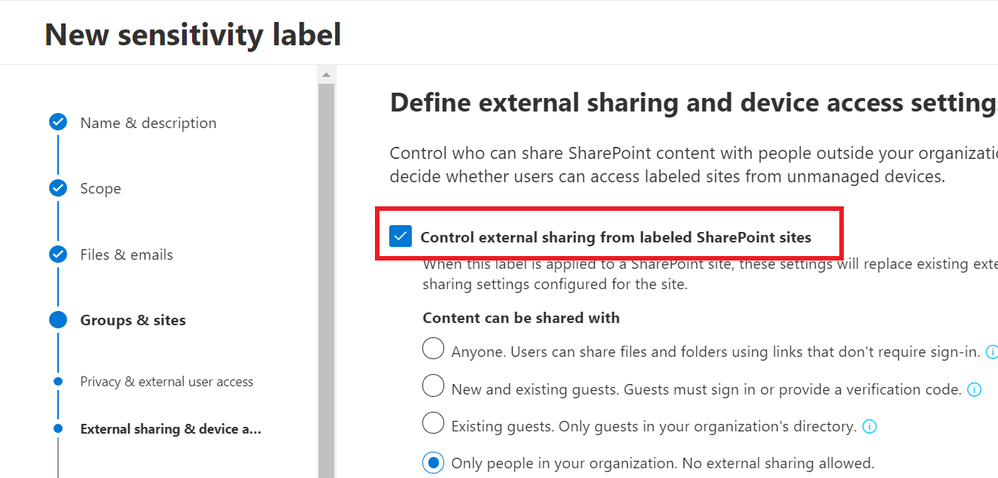 Label creation with no external sharing for a site